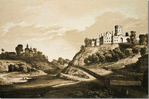 Замок Корецьких, гравюра Наполеона Орди
